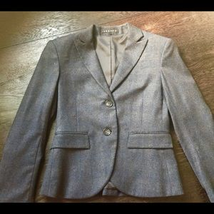 Theory gray and blue pinstriped wool blazer sz 4
